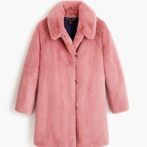 New JCREW Pink Faux Fur Coat